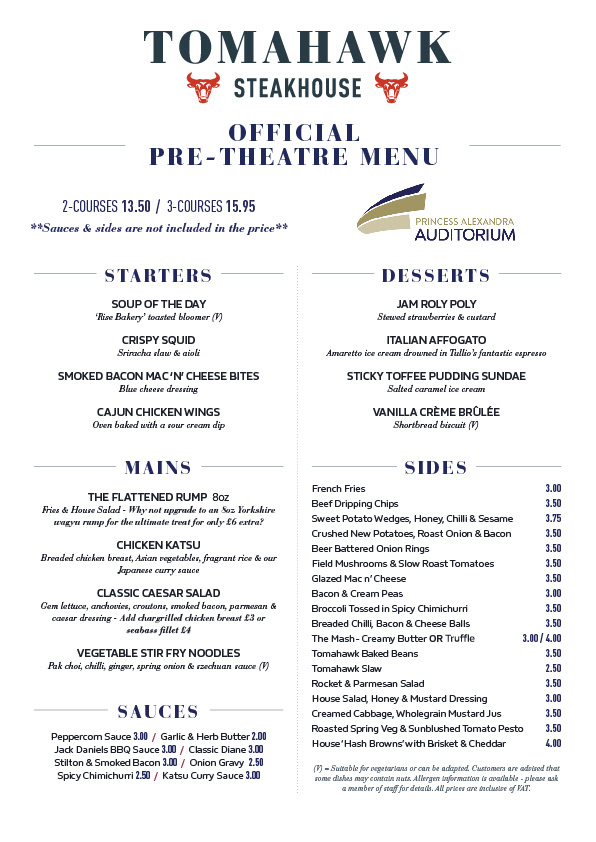 Pre-show food menu from Tomahawk Steakhouse, Yarm.
